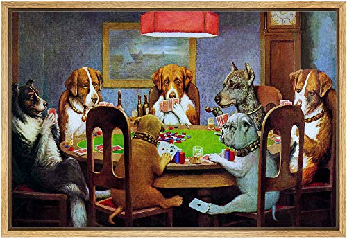 IDEA4WALL Framed Canvas Wall Art for Living Room, Bedroom Dogs Playing Poker Canvas Prints for Modern Home Decoration Ready to Hang - 16 x24  inches