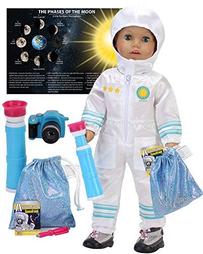 Smithsonian 18 Inch Doll Astronaut Set by Sophia's | Spacesuit, Telescope, Moon Rock Bag, Camera and More | 8 Pc Astronaut Set