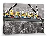 1art1 GRU, Mi Villano Favorito - Minions Lunch On A Skyscraper Cuadro, Lienzo Montado sobre Bastidor (120 x 80cm)