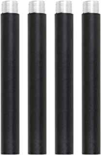 VINLUZ 4 Inches Pendant Extension Rods for Chandelier, Black Finish Accessory Stem Kit Down Rod Pack of 4