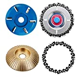 SYWAN 4 PCS Woodworking Grinder Shaping Disc Wood Carving Chain Disc Power Wood Carving Disc Angle Grinder Attachment Milling Cutter Circular Chainsaw Wheel