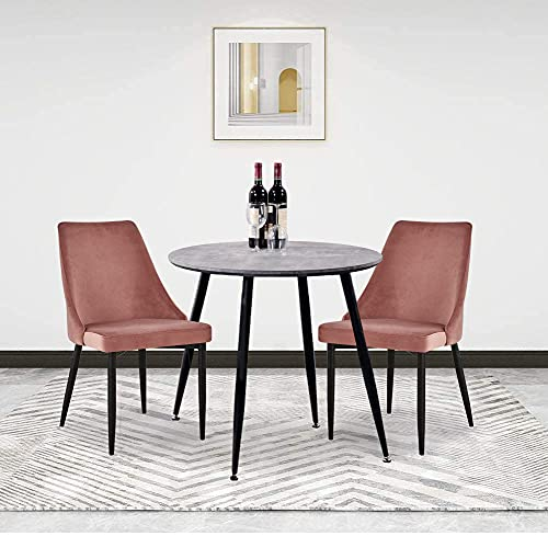 GOLDFAN Dining Table and 2 Chairs Retro Design Round Wooden Dining Table With Metal Legs Faux Leather Kitchen Chairs For Dining Room Living Room (Brown)