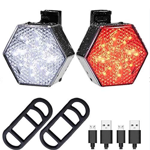 MINGUUK Juego de luces LED para bicicleta – Luz delantera y trasera para bicicleta con molino de viento recargable por USB, 8 modos de iluminación, perfecto para ciclismo, al aire libre, camping
