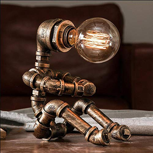 Vintage Tischlampen Retro Wasserpfeife Roboter Schreibtischlampe Home Decor Industrielampe Neben Schlafzimmer Lampe Studie Dekoration Led Betten-Bronze