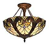 Cotoss Tiffany Ceiling Lights, 16 inch Wide Flush Mount Ceiling Light Tiffany, 2-Light Tiffany Style Ceiling Flush Mount, Stained Glass Ceiling Light, Flush Ceiling Lamps