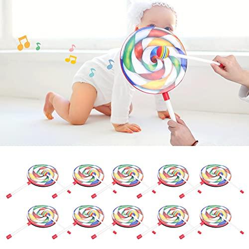 Juego de Pandereta para Niños con Forma de Loll-Ipop de 10 Piezas con Mazo Colorido Instrumento de Ritmo Musical Interesante para Niños de 8 Pulgadas