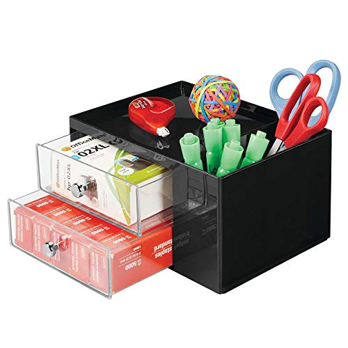 mDesign Plastic Home, Office Storage Caddy Box for Desk, Countertop, Cubicle - 2 Drawers, 2 Side Compartments, Top Shelf - Organizer Holds Pens, Erasers, Sticky Notes, Binder Clips - Black/Clear