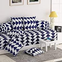 Gurnoor 3D Printed Geometric Diwan Set(1 Diwan Sheet, 2 Bolster Covers and 5 Cushion Covers)(Blue)