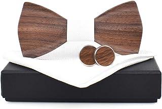 ODCOLTD Wooden Bow Tie Handmade Adjustable Pre-tied Wood Neck Tie Gift Set