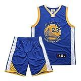 Camisetas de Baloncesto para niños Draymond Green # 23 Golden State Warriors Camisa de Baloncesto para Hombres Top Transpirable Pantalones Cortos de Verano 2 Piezas Se Puede Limpiar repetidamente-BLU