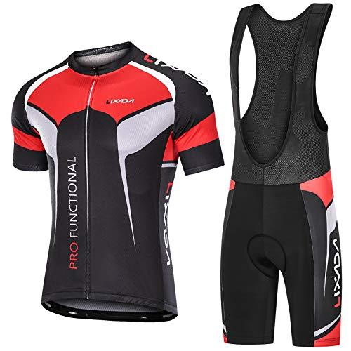 Lixada Herren Radtrikot Set Fahrrad Kurzarm Set Schnelltrocknend Atmungsaktives Shirt + 3D Cushion Shorts Gepolsterte Hose (Schwarz Stil2, S(EU) = 165-170cm, 60-70kg)