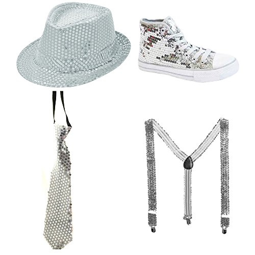 TrendandStylez Pailletten Schuh, Pailletten Hut, Pailletten Krawatte, Pailletten Hosenträger Glitzer SILBER