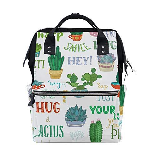 MERRYSUGAR Diaper Bag Backpack Cactus Green White Baby Bag School Backpack Mommy Bag Large Multifunction Travel Bag