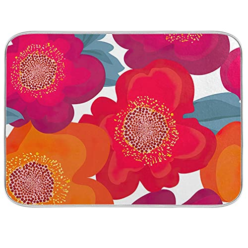 Flowers And Plants Theme Dish Dry Mats for Kitchen Counter Absorbent Baby Bottle Dryer Pad Dish Drainer Mats for Countertop 16x18In