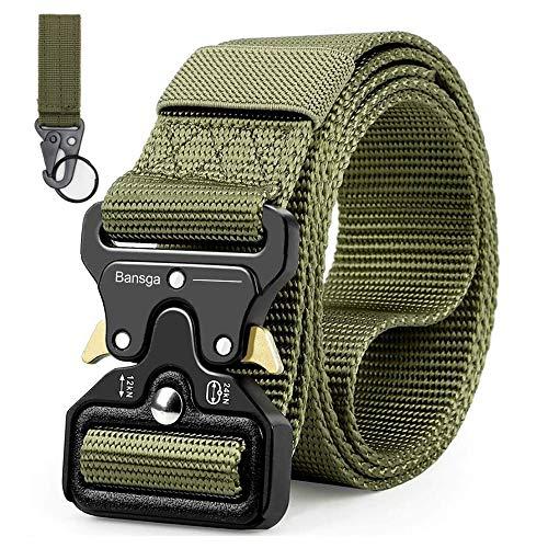 Taktischer Gürtel,Heavy Duty verstellbare Military Style Nylon Gürtel mit Zink Legierung Schnalle, militärischen Schnellverschluss Schnalle Taillenband(Grün)