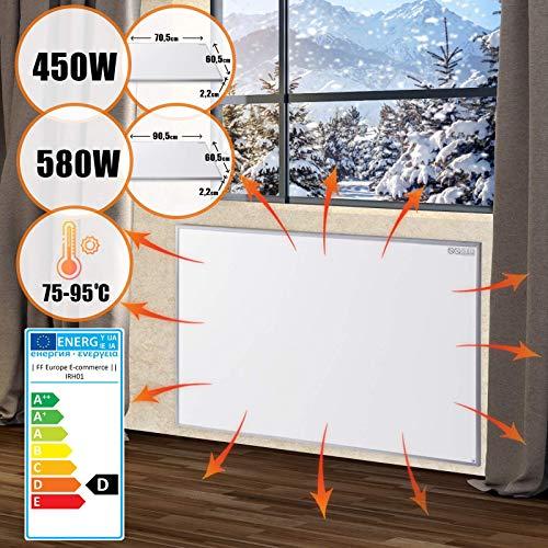Pannello di Riscaldamento a Infrarossi - 580W/450W, 90x60 cm/70x60 cm, Ultra Piatto, Protezione di Surriscaldamento, Basso Consumo, Montaggio a Parete - Pannello Riscaldante, Radiante