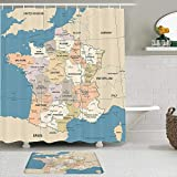 Stoff Duschvorhang & Matten Set,Frankreich Karte Vintage Land Lyon Detaillierte dunkelrote Bordeaux Business Finance Geografische Bildung,Wasserdichte Badvorhänge mit 12 Haken,utschfeste Teppiche