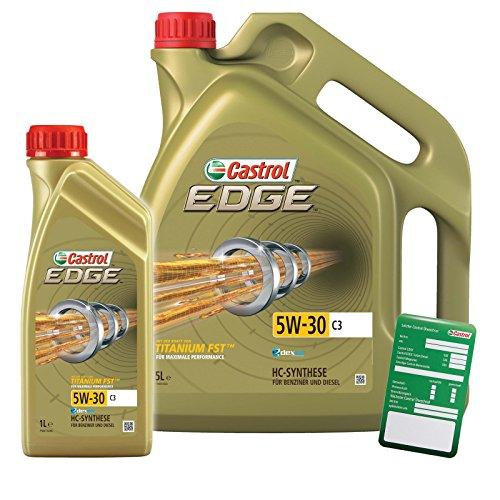 1 L + 5 L = 6 LITER CASTROL Edge Fluid Titanium 5W-30 C3 Motoröl inkl. Castrol Ölwechselanhänger