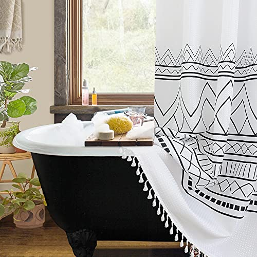 Boho White Shower Curtain Sets Fabric Farmhouse Shower Curtains with Hooks White and Black Shower Curtain Restroom Liner Hotel Tassel Water Repellent Machine Washable Standard Size 72x72 Inch