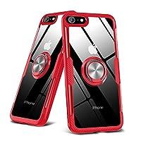 iPhone6plus ケースiPhone6Splus ケースクリア リング付き 耐衝撃 薄型 全面保護 背面強化ガラスケースクリア TPU バンパー スタンド機能 透明 落下防止 耐衝撃 擦り傷防止 指紋防止360度回転 マグネット 車載スタンド対応 アイフォン6s plusケースカバー 高級感 薄型 軽量人気 一体型 全面保護カバー 赤 B24