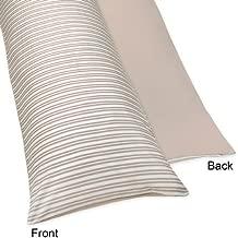 Sweet Jojo Designs Little Lamb Stripe/Taupe Full Length Double Zippered Body Pillow Case Cover