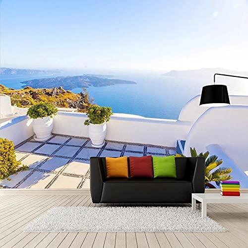 Papel Tapiz Fotográfico 3D Paisaje Del Mar Mediterráneo Murales Sala De Estar Dormitorio Decoración Romántica Para El Hogar Paño De Pared