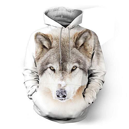 Hiikk Hombres Sudaderas con Capucha White Wolf 3D Impreso Digital con Capucha Suéter con Capucha Loose Couple Wear-White WolfGuard_M