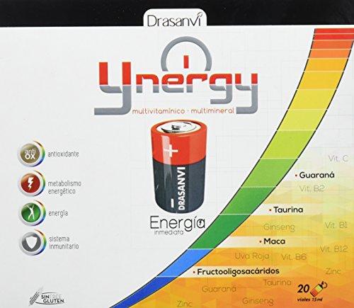 Ynergy Energía Inmediata 20 viales x 15 ml con Maca, Ginseng, Guaraná, Vitaminas y Minerales Drasanvi