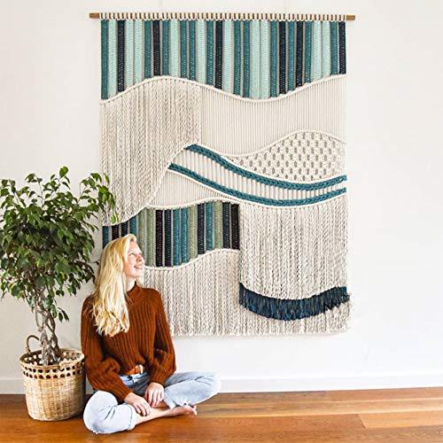 ZNKZJ Tapisserie Murale en macramé à la Main Grand Art coloré tissé tapisseries en macramé Rayures élégantes Textile Gland tenture Murale décor,B-80 x 100 cm
