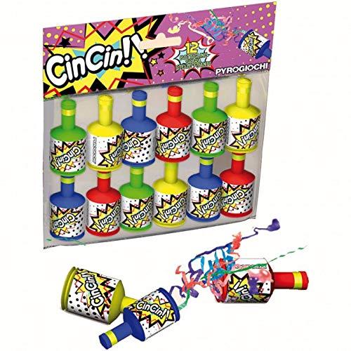 Dream' s Party 12 Bottigliette sparacoriandoli per Bambini - CIN CIN - proiezione di Stelle filanti per Feste di Compleanno - bottiglietta a Strappo Lancia coriandoli Multicolor
