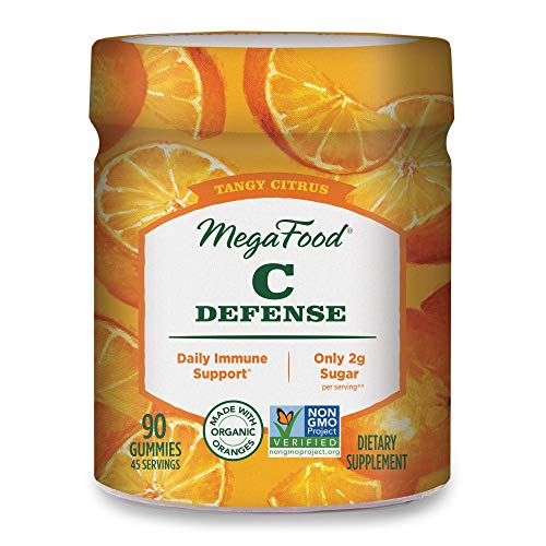 MegaFood, C Defense Gummies, Tangy Citrus Soft Chew Supplement for Daily Immune Support, Gluten Free, Vegan, 90 Gummies (45 Servings)