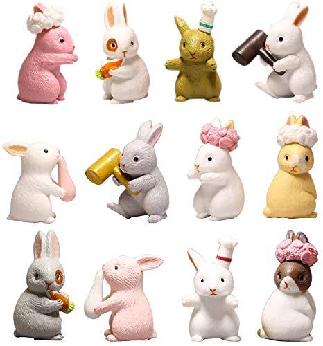 Mini Kaninchen Figur, 12 Pcs Kaninchen Tierfiguren Miniatur Ornament für Kuchen Topper Dekoration Weihnachten Geburtstag Geschenk