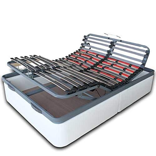 VentadeColchones - Canapé Articulado Abatible de Gran Capacidad con Mando Inalámbrico + App Móvil, Polipiel Blanco, Medida 90 x 190 cm