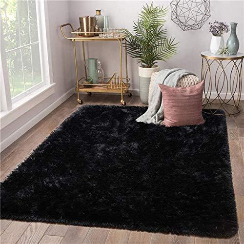 QXXKJDS Alfombra moderna para sala de estar, suave, para habitación de niños, para guardería, niñas, dormitorio, dormitorio, (color: negro, tamaño: 160 cm x 200 cm)