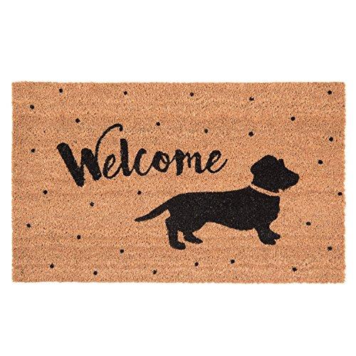 Clayre & Eef MC137 Fußmatte/Türmatte Hund/Dackel/Welcome 75 * 45 * 1 cm