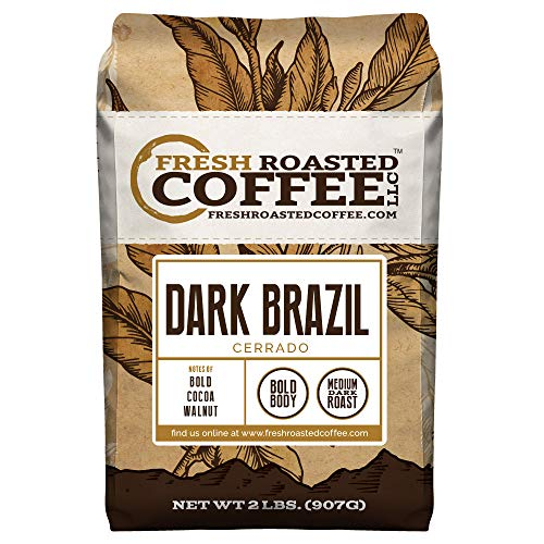 Fresh Roasted Coffee LLC, Dark Brazilian Cerrado, Medium-Dark Roast, Whole Bean, 5 Pound Bag