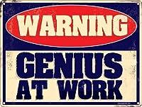 なまけ者雑貨屋 Genius At Work Warning Mini ブリキ看板 メタルプレート アメリカン ヴィンテージ風 レトロ