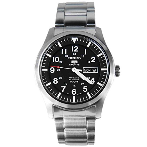 Seiko Men's SNZG13 Seiko 5 Automatic Black Dial Stainless-Steel Bracelet Watch