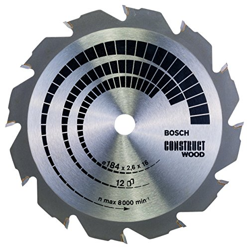 Bosch 2608641200-000, Disco de Serra Circular Construct Wood 12T, Cinza, 184 x 16 mm