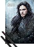 1art1 Juego De Tronos Póster (91x61 cm) Jon Snow Y 1 Lote De 2 Varillas Negras