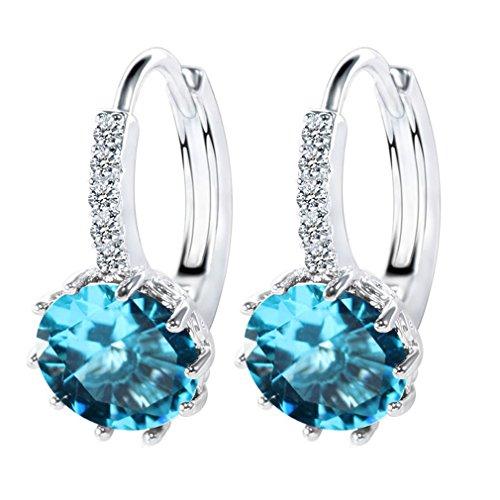 Wiftly Femmes Boucles d'oreilles Zircon Accessoires pour Fille Bijoux (bleu)
