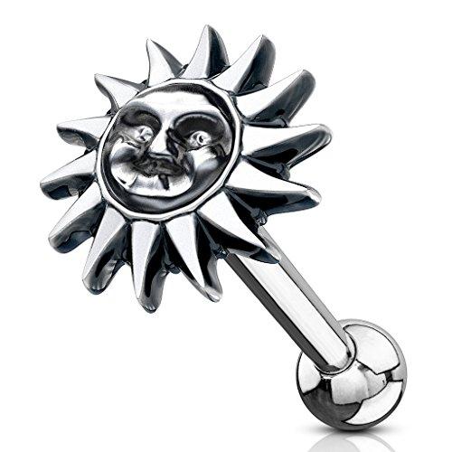 BlackAmazement 316L Edelstahl Ohrstecker Piercing Helix Ohr Sonne Mond Silber Damen Herren (Modell Sonne - 1 Stück)