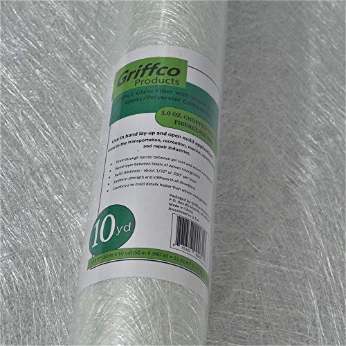 1 Oz. Fiberglass Chopped Strand Mat (Epoxy/Polyester Compatible) - 10 Yards X 50' Wide - Rolled - for Hand Layup, Vacuum Bagging or molding Composites