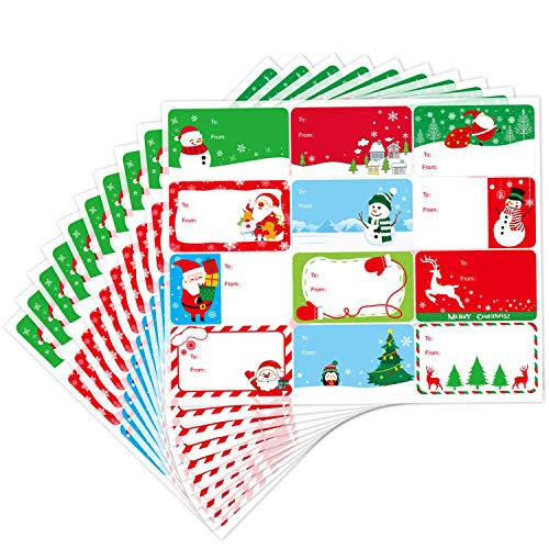Yoklili 120 Christmas Tag Stickers 12 Jumbo Designs Self Adhesive Xmas to from Sticker Write on Holiday Present Labels
