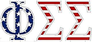 Phi Sigma Sigma American Flag Greek Letter Sticker - 2.5