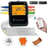 Newkiton Thermomètre à viande intelligent sans fil avec 6 sondes en acier inoxydable, Bluetooth thermomètre numérique compatible iOS et Android pour cuisine, fumoir, barbecue, four