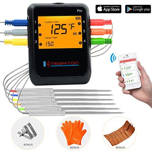 Newkiton Smart Kabelloses Fleischthermometer mit 6 Edelstahl-Sonden, APP gesteuertes Bluetooth-Digitales...