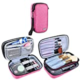 Teamoy Travel Makeup Brush Bag(up to 8.5'), Professional Cosmetic Artist Organizer Case with Handle Strap for Makeup Brushes and Beauty Supplies-Small, Pink(No Accessories Included)