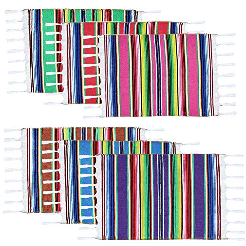 Fowecelt Mexican Serape Placemats for Mexican Party Wedding Fiesta Decorations Outdoor Dining Kitchen Table, Fringe Cotton Handwoven Table Place Mats, 19 × 13 Inch (Set of 6, Multi-Color)