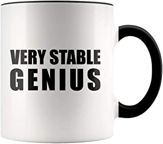 TrendyLuz Trump Very Stable Genius MAGA Mug 11 oz Ceramic Political Novelty Coffee Mug (Black)